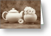 Sepia Greeting Cards - Teapot with Daisies II Greeting Card by Tom Mc Nemar