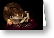 Wicker Greeting Cards - Teapot With Fruit still Life Greeting Card by Tom Mc Nemar