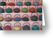 Green Tag Greeting Cards - Teapots Greeting Card by Clarence Holmes