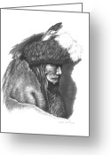 Buffalo Drawings Greeting Cards - Tearing Robe Greeting Card by Lee Updike