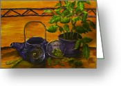 Teapot Greeting Cards - Teatime Greeting Card by Shelley Bain
