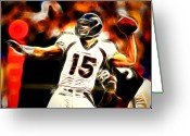 Qb Greeting Cards - Tebow Greeting Card by Paul Van Scott