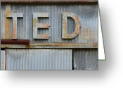High Resolution Greeting Cards - TED Rusty Name Sign Art Greeting Card by Nikki Marie Smith