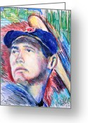 Major Leagues Greeting Cards - Ted Williams Boston Redsox  Greeting Card by Jon Baldwin  Art