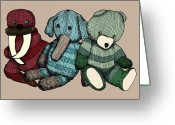 Stuffed Animals Greeting Cards - Teddy Animals - Color Greeting Card by Karl Addison