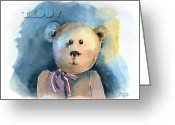 Kid Painting Greeting Cards - Teddy Greeting Card by Arline Wagner