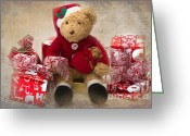 Teddybear Greeting Cards - Teddy at Christmas Greeting Card by Louise Heusinkveld