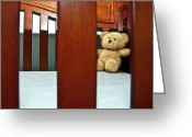 Baby Room Photo Greeting Cards - Teddy Bear in Baby Crib Greeting Card by Carolyn Marshall