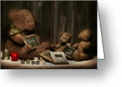 Toys Greeting Cards - Teddy Bear School Greeting Card by Tom Mc Nemar