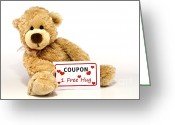 Present Card Greeting Cards - Teddy bear with hug coupon Greeting Card by Blink Images