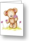 Bear Drawings Greeting Cards - Teddy Bear With Pink Flowers Greeting Card by Anna Abramska