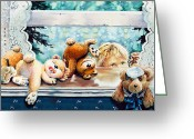 Baby Room Greeting Cards - Teddy Tricks Greeting Card by Hanne Lore Koehler