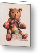Stuffed Animals Greeting Cards - Teddy With Blocks Greeting Card by Arline Wagner