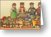 Teddybear Greeting Cards - Teddybears and Bears Christmas Greeting Card by Kestutis Kasparavicius