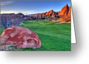 Golf Green Greeting Cards - Tee Time Greeting Card by Scott Mahon