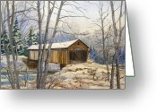 Covered Bridge Painting Greeting Cards - Teegarden Covered Bridge in Winter Greeting Card by Lois Mountz