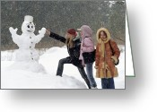 Adolescents Greeting Cards - Teenage Girls With A Snowman Greeting Card by Ria Novosti