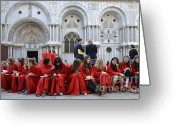 Basilica San Marco Greeting Cards - Teenager girls from a UK choral group waiting outside St Mark Basilica in Venice Greeting Card by Sami Sarkis