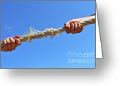 12-13 Years Greeting Cards - Teenagers hands playing tug-of-war with used rope Greeting Card by Sami Sarkis