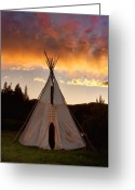 Sunset Posters Greeting Cards - Teepee Sunset - vertical image Greeting Card by James Bo Insogna