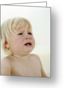 Tearful Greeting Cards - Teething Baby Girl Greeting Card by Ian Boddy