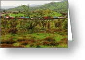 Beautiful Clouds Greeting Cards - Tehachapi Train Loop Greeting Card by Connie Cooper-Edwards