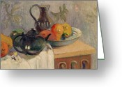 Gauguin; Paul (1848-1903) Greeting Cards - Teiera Brocca e Frutta Greeting Card by Paul Gauguin