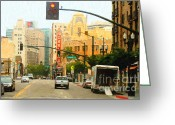 Oakland California Greeting Cards - Telegraph Avenue in Oakland California Greeting Card by Wingsdomain Art and Photography