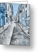 City Street Greeting Cards - Telegraph Hill Blue Greeting Card by Scott Norris