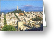 Streets Drawings Greeting Cards - Telegraph Hill San Francisco Greeting Card by Peter Art Prints Posters Gallery