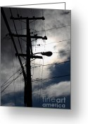 Telephone Pole Greeting Cards - Telephone and Electric Wires and Pole in Abstract Silhouette . 7D13651 Greeting Card by Wingsdomain Art and Photography