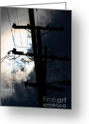 Telephone Pole Greeting Cards - Telephone and Electric Wires and Pole in Silhouette . 7D13615 Greeting Card by Wingsdomain Art and Photography