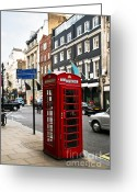 Busy City Greeting Cards - Telephone box in London Greeting Card by Elena Elisseeva