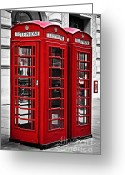 United Kingdom Greeting Cards - Telephone boxes in London Greeting Card by Elena Elisseeva