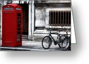 Phone Booth Greeting Cards - Telephone in London Greeting Card by John Rizzuto