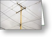 Gray Sky Greeting Cards - Telephone Pole and Electric Cables Greeting Card by Paul Edmondson
