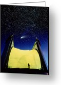Maxwell Greeting Cards - Telescope & Comet Hale-bopp Greeting Card by David Nunuk