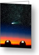 Observatories Greeting Cards - Telescope Domes and Hale-Bopp Comet Greeting Card by David Nunuk