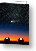 Hale-bopp Greeting Cards - Telescope Domes On Mauna Kea With Hale-bo Greeting Card by David Nunuk