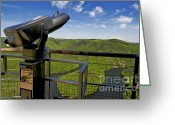 Telescope Greeting Cards - Telescope with view on meander of Queuille. Auvergne. France. Europe Greeting Card by Bernard Jaubert