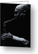 Musicians Pastels Greeting Cards - Temperate Sax Greeting Card by Richard Young