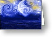 Blue Moon Greeting Cards - Tempestuous Night Greeting Card by Lourry Legarde