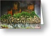 Knights Castle Painting Greeting Cards - Templar castle of Almourol Greeting Card by Kaye Miller-Dewing