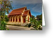 Khao Greeting Cards - Temple Greeting Card by Adrian Evans