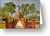 Buddhist Digital Art Greeting Cards - Temple Bridge Greeting Card by Adrian Evans