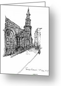 Streets Drawings Greeting Cards - Temple Emanuel Greeting Card by Pamela Canzano