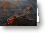 Hopi Greeting Cards - Temple Formations At Sunset - Grand Canyon Greeting Card by Stephen  Vecchiotti
