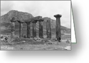Classical Style Greeting Cards - Temple Of Apollo Greeting Card by Hulton Collection