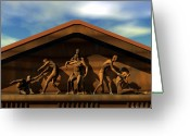 Greek Sculpture Digital Art Greeting Cards - Temple of Man Figures Greeting Card by Walter Neal