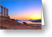 Parthenon Greeting Cards - Temple of Poseidon Greeting Card by Emmanuel Panagiotakis
